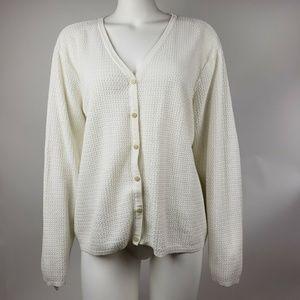 LIZ GOLF Liz Claiborne White Cardigan XL